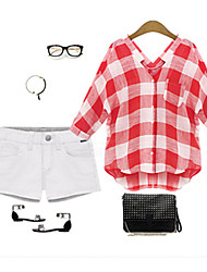 CEN     Women's Plaid Red Casual Shirts , Casual V-Neck Long Sleeve
