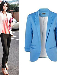 vins Women's Solid Color Blue Coats & Jackets , Casual / Work V-Neck Long Sleeve