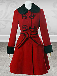 Long Sleeve Floor-length Red Cotton Gothic Lolita coat