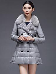 Women's Fashion Casual Large Fox/Lamb Fur Spliced Genuine/Real Sheepskin Leather Down Jacket/Coat