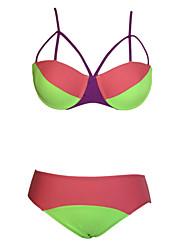 Kvinders Polyester / Spandex Halterneck Ensfarvet Bikini BH med indlæg