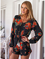 CEN     Women's Print Black Jumpsuit , Beach / Casual / Print V-Neck Long Sleeve