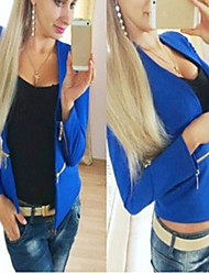CEN     Women's Solid Color Blue / Black Coats & Jackets , Sexy / Casual / Work Asymmetrical Long Sleeve