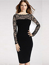 Women's Patchwork Black Dress , Bodycon / Lace Round Neck Long Sleeve