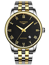 GUANQIN® Top Grade Japanese Quartz Waterproof Sapphire Watch Calendar Luminous Steel 40mm Business for Men Wrist Watch Cool Watch With Watch Box
