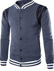 Design Men's Stand Coats & Jackets , Cotton Blend Long Sleeve Casual Pocket Winter