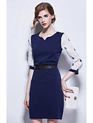 Women's Solid Black / Navy Blue Dress , Party V Neck ½ Length Sleeve