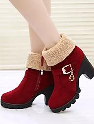 Stivali - Scarpe da donna - Tacco spesso - Tacco spesso DI PU - Nero / Vino