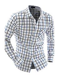 Camicia Uomo Casual A quadri Cotone Manica lunga Nero / Giallo