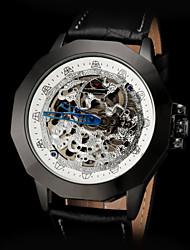 forsining correa de reloj de los hombres de la vendimia esqueleto auto negro de cuero mecánica