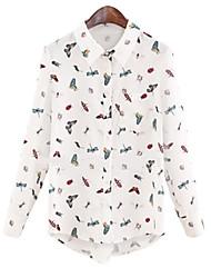 여성의 셔츠 카라 긴 소매 셔츠 폴리에스테르