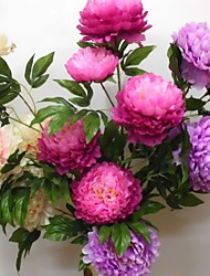 A Bunch Of 5 Head Of  Polyester / Plastic Peonies Artificial Flowers(1PC)