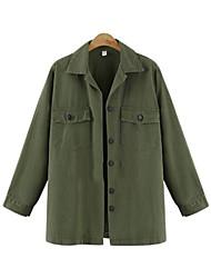 Women's Solid Black / Green Denim Top , Casual / Plus Sizes