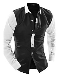 Men's Classic Long Sleeve Shirt , Cotton / Polyester Casual Pure