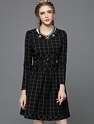 Plus SIze Women Clothing Autumn Winter Vintage Bead Embroidery Patchwork Plaid Fashion Party/Casual/Work Dress