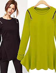 Sweater  Women's Character Black/Green/Gray Dresses , Casual/Work Round Long Sleeve