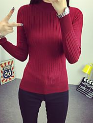 Normal Pullover Femme Décontracté / Quotidien simple,Couleur Pleine Rouge / Blanc / Noir / Gris Col Roulé Manches Longues Acrylique