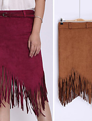 Women's Tassel Skirts , Vintage / Sexy / Bodycon / Party Mid Rise Knee-length VICONE