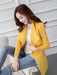 Women's Patchwork Blue / Black / Yellow / Purple Coats & Jackets , Casual V-Neck Long Sleeve