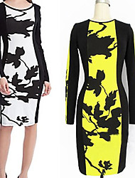 Women's Print White / Yellow Dresses , Bodycon / Party Round Long Sleeve