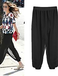 Pantalones ( Gasa / Algodón )- Casual Tiro Medio Pantalones Harén para Mujer