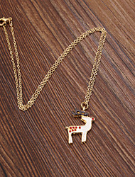 Fashion Women Cute Enamel Christmas Deer Pendant Necklace