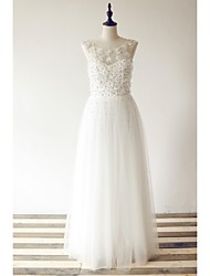 A-line Wedding Dress Floor-length Scoop Tulle with Beading