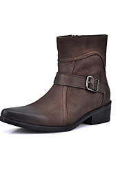 Men's Shoes Casual Genuine Leather Fashion Boots Black / Brown