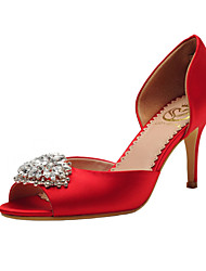 Women's Spring Summer Fall D'Orsay & Two-Piece Satin Wedding Dress Party & Evening Stiletto Heel Crystal Red Champagne