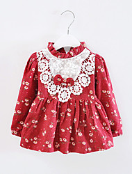 Girl's Floral Bow Rural Style Cute Spring and Autumn Baby Kids Clothing Dresses