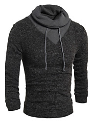 Men's Business Casual Simple Active Regular Pullover,Solid High Neck Long Sleeve Cotton Elastic Fall Winter Thin Stretchy