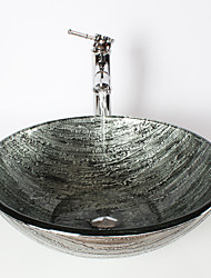 Ancient Silver Round Tempered Glass Vessel Sink with Bamboo Faucet ,Pop - Up Drain and Mounting Ring