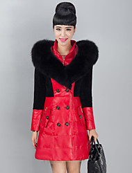 Women's Fashion Bodycon Wool/Fox Fur Spliced Genuine/Real Sheepskin Leather Down Jacket/Coat
