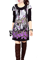 Women's Pattern Color Dress , Floral Print Print Round Neck / U Neck Long Sleeve