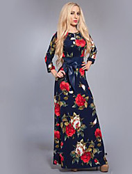 Women's Casual/Daily Swing / Skater Dress,Print Round Neck Maxi Long Sleeve Multi-color Nylon Spring