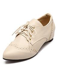 Women's Shoes Wedge Heel Comfort / Pointed Toe Oxfords Wedding / Outdoor / Dress Black / Pink / Red / Beige