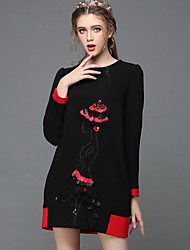 Fashion Women Clothing Autumn Winter Vintage Luxury Bead Lace Color Blocking Loose Party/Casual/Work Dress