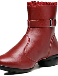 Modern Women's Dance Shoes Boots Breathable Leather Low Heel Black/Red