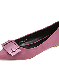 Women's Shoes Suede Flat Heel Ballerina /New Fashion Pointed Suede Belt Buckle Rubber Big Yards For Women's Shoes