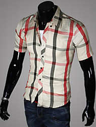 Men's Short Sleeve Shirt , Cotton Blend Casual Plaids & Checks