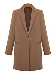 Women's Popular One Button Solid Trench Coat , Casual / Work Long Sleeve