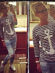 CEN     Women's Striped White T-Shirts , Casual Round Long Sleeve