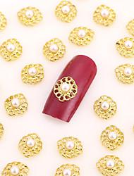 50PCS Gold Nail Art Jewelry Pinkie White Nail Pearl Rose Nail Decorations Alloy Rhinestone Aryclic Nail Tips Decorations