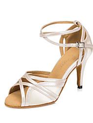 Non Customizable Women's Dance Shoes Salsa Flocking Stiletto Heel
