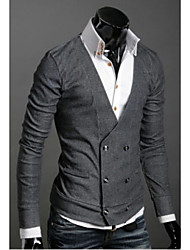 Men's V-Neck Sweaters , Cotton Blend Long Sleeve Casual Hollow Out Winter / Fall HI MAN