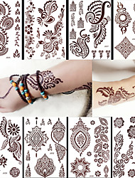 8PCS Waterproof Body Art Women Brown Henna Jewel Sexy Lace Flower Temporary Tattoo Stickers Chic