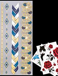 4 - Séries bijoux - Doré/Multicolore/Argenté - Motif - 23*11*0.1cm - Tatouages Autocollants - AML - Homme/Femme/Adulte/Adolescent