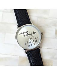 Mulheres Relógio de Moda Quartzo PU Banda Relógios com Palavras Branco Preto Verde