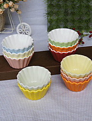 Souffle Ruffled Ceramic Baking Cup Mold Pudding Dessert Bowl (Random Color)