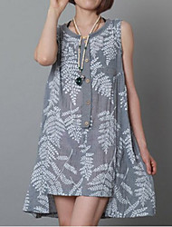 Large size   Women's Floral Gray Dresses , Casual / Print Round Sleeveless